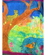 Silk jungle scene on large scarf/ tapestry - $65.00