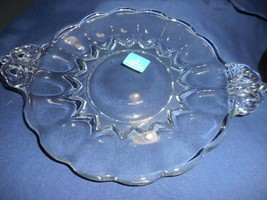 """Viking Glass PRINCESS CLEAR Handled Plate Panelled Ribbed 7"""" w/o handles Sticker - $8.90"""