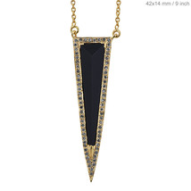 Black Onyx Gemstone ARROW HEAD Pendant Necklace Fine 18k Yellow Gold NEW... - $1,140.03