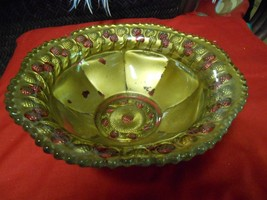 """Magnificent .Antique GOOFUS GLASS  BOWL """"Berrys"""" 1920's..Probably Indiana Glass - $17.04"""
