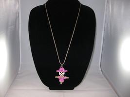 NEW Betsey Johnson Rhinestone Pink Scarecrow Pendant on Lo... - $24.50