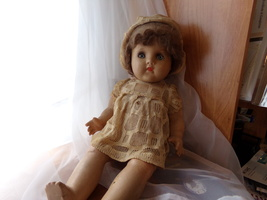 """Unmarked 17"""" Composition doll ..Horsman? - $50.00"""