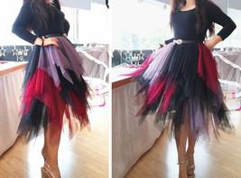 Women's Sweet High Waist Hi-lo Tiered Tulle Layered Ruffle Mesh Long Tier Skirt image 8