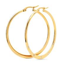 STEELTIME 18K Gold Plated adorned with Swarovski crystals hoop earrings - $22.99