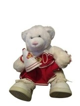 Build a Bear White Teddy Bear w/Pink Nose, Red Cheerleader Outfit, 16″ - $24.74