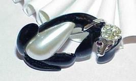 Vintage Dog Pin Brooch Black enamel Faux Baroque Pearl Rhinestone Silver... - $24.74