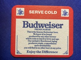 BEER MAT COASTER - TWO SIDED -  BUDWEISER SERVE COLD   (FF265) - $5.43