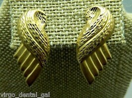 Vintage Gold Tone 1980's Styled Feather Wing Post Earrings - $9.90