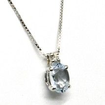 18K WHITE GOLD NECKLACE AQUAMARINE 0.45 OVAL CUT & DIAMOND, PENDANT & CHAIN image 1