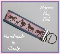 Pink Horses Key Chain Horse Ring Fob Pink Denim Brown Tan Chambray Blue - $6.75