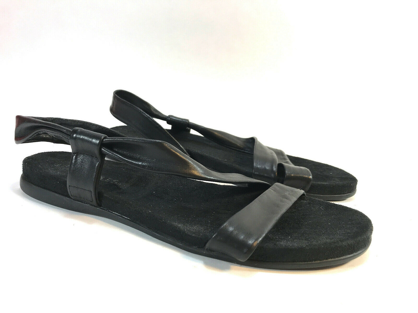 AEROSOLES black leather comfort non slip ankle strap flats sandals 10 FREE SHIP