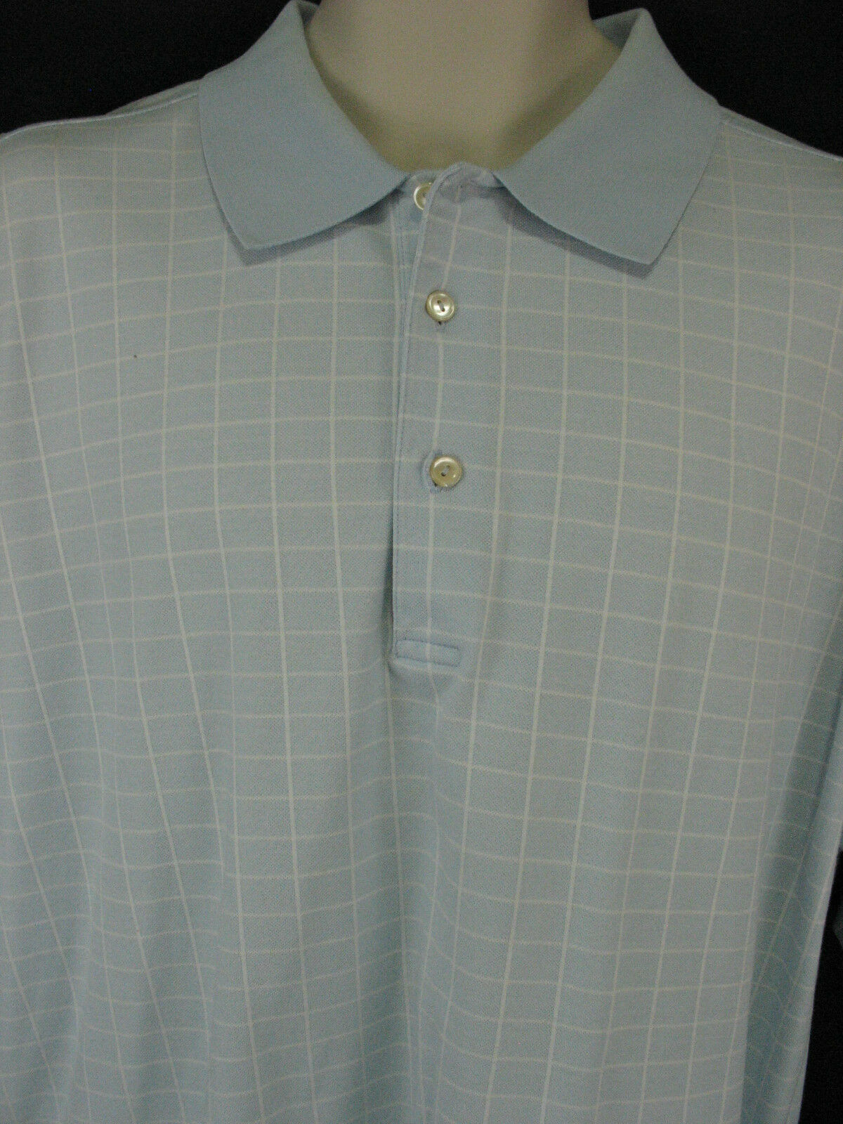 Peter Millar Mens Large Blue Window Pane Cotton Polo Shirt Short Sleeve image 3