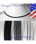 3 mm SUEDE Lace Necklace CUSTOM-24 inches Black/White/Gray  - $4.50