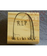 Wood-mounted RIP Halloween Tombstone Rubber Stamp - $3.95