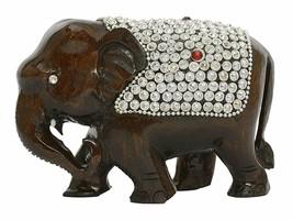 Elephant figurine Handmade Beads studded Wooden (15 cm x 7.5 cm x 10 cm,... - $24.75