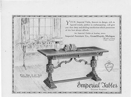 1925 Imperial Table Grand Rapids 3 Vintage Print Ads