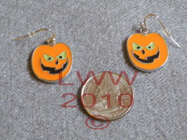 Jack-o-lantern Halloween French Hook Dangly Earrings - $3.99