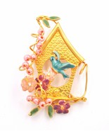Enameled Bird House Flower Figural Gold Plated Brooch Pin ADORABLE - $24.74