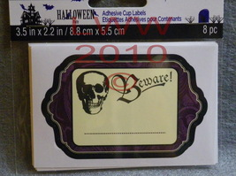 8 Halloween Beware Skull Party Adhesive Cup Label Stickers - $3.59