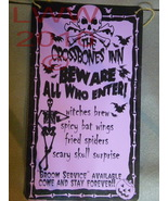 Crossbones Inn Menu Spooky Purple Halloween sign - $4.99