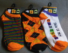 Set of 3 Ladies Halloween Ankle-high Socks Black & Orange - $8.99