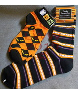 2 Pairs Black & Orange Halloween Ladies Socks - $5.99