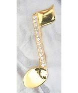Fabulous JJ Crystal Rhinestone Golden Musical Note Brooch 90s vintage - $14.80