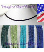 3 mm SUEDE Lace Necklace CUSTOM-24 inches Turquoise/Blue/Grn - $4.50