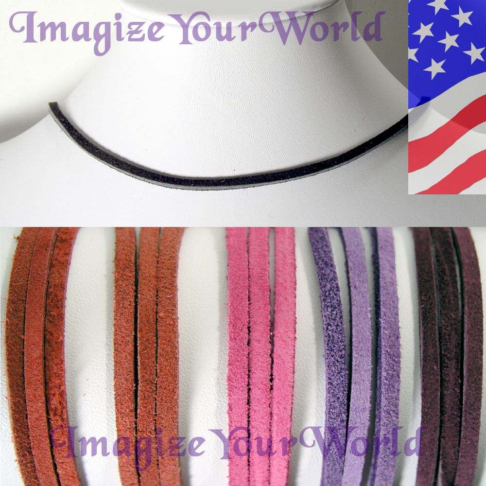 3 mm SUEDE Lace Necklace CUSTOM-24 inches Red/Purple/Pink valentine