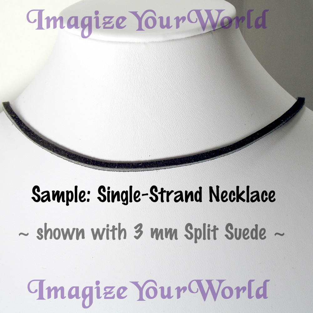3 mm SUEDE Lace Necklace CUSTOM-24 inches Black/White/Gray
