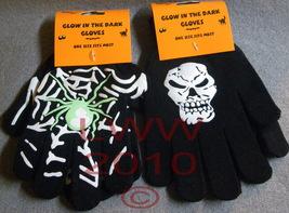 2 pr. Black Halloween Glow in dark Skull Spider Gloves - $5.99