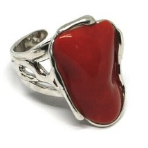925 SILVER RING, RED CORAL NATURAL CABOCHON, MADE IN ITALY image 1