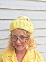 60s Yellow Hat Summer Spring Floral Veil Vintage - $13.00