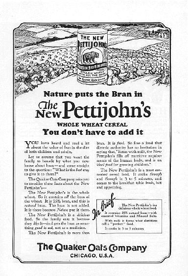 1925 Quaker Oats Pettijohn's Cereal 2 Vintage Print Ads
