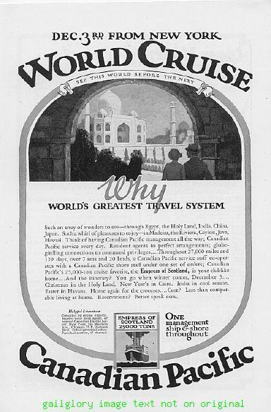 1925 United American Lines, Canadian Pacific Cruise Ads