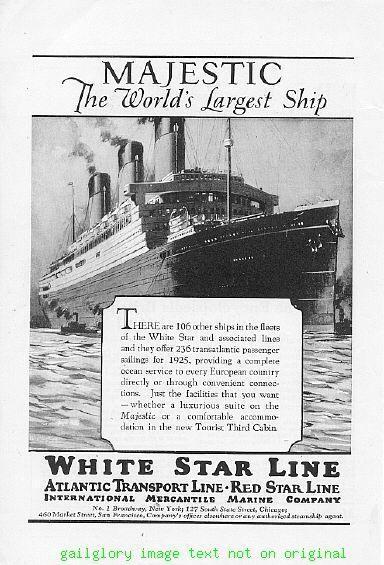 1925 White Star Line Cruise Ship 4 Vintage Print Ads