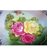Gorgeous Large 10 Inch Antique Porcelain Bavaria Plate Handpainted Cabba... - $135.00
