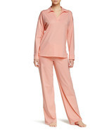 NWT New Designer Natori Pajamas Womens PJ S Long Pants Sleeves Orange Coral - $126.75