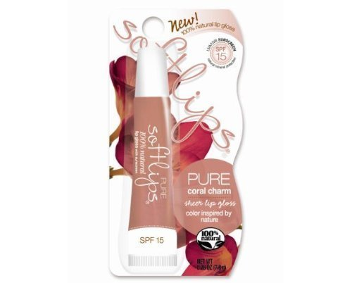 Softlips Pure Sheer Lip Gloss Balm Natural SPF15 Coral Charm