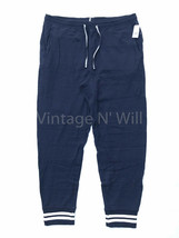 GAP Mens L Navy Blue/ White Double-Knit Striped Cuff Jogger Lounge Sweatpants - $40.84