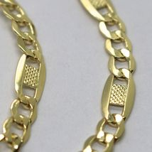 Chain Yellow Gold 18K 750, 50 cm, Curb Flat and Plates Bluebeat, 4 MM image 3