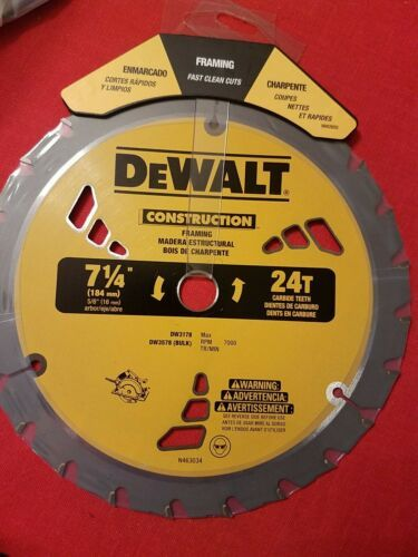 "Primary image for DEWALT DW3578LX 7-1/4"" x 24 Tooth Carbide-Tipped Framing Circular Saw Blade NEW"