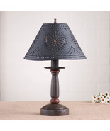 BEDSIDE TABLE LAMP & Punched Tin Shade - Espresso with Salem Brick Red F... - $198.45