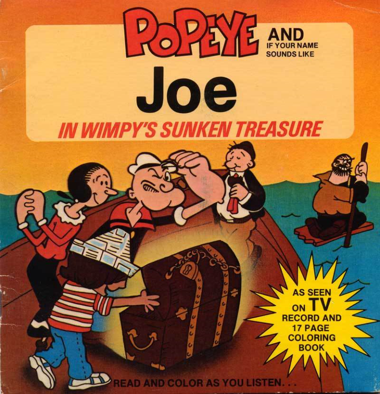 Primary image for 1980 Popeye & Joe in Wimpys Sunken Treasure Personalized Record & Coloring Book