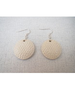 Ceramic Disc Large Golf Ball Earrings Sterling ... - $16.47