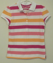 Girls Green Soda Pink White Orange Stripe Short Sleeve Polo Shirt Size L... - $5.95