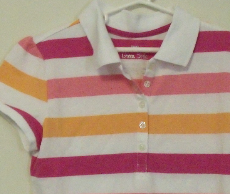 Girls Green Soda Pink White Orange Stripe Short Sleeve Polo Shirt Size L 10 12