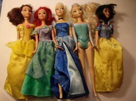Mattel Disney Princesses Doll Lot Belle Cinderella Ariel Snow White Frozen - $11.88
