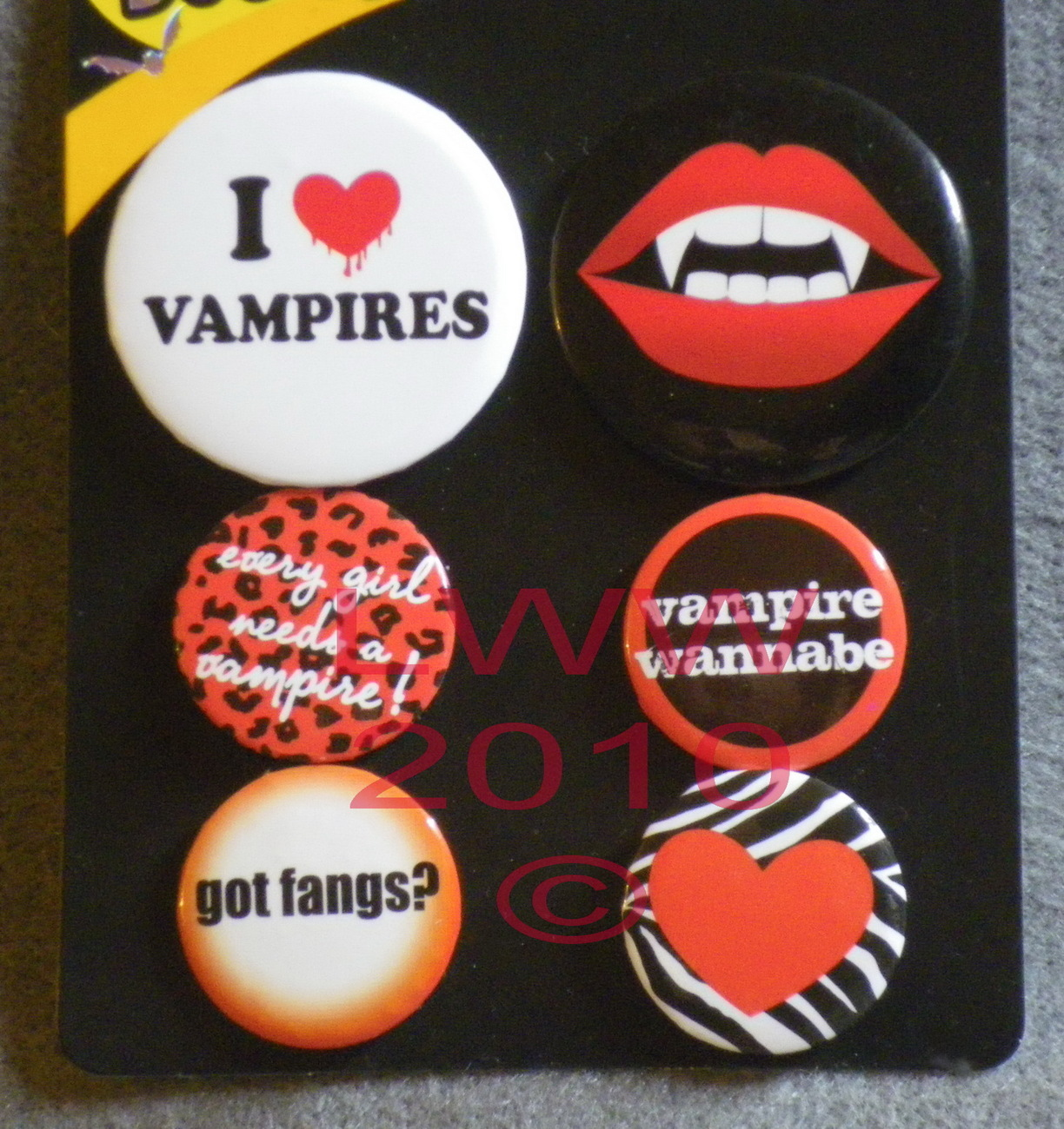 6 Vampire Halloween Fangs Lapel Button Pins