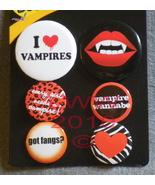 6 Vampire Halloween Fangs Lapel Button Pins - $3.99
